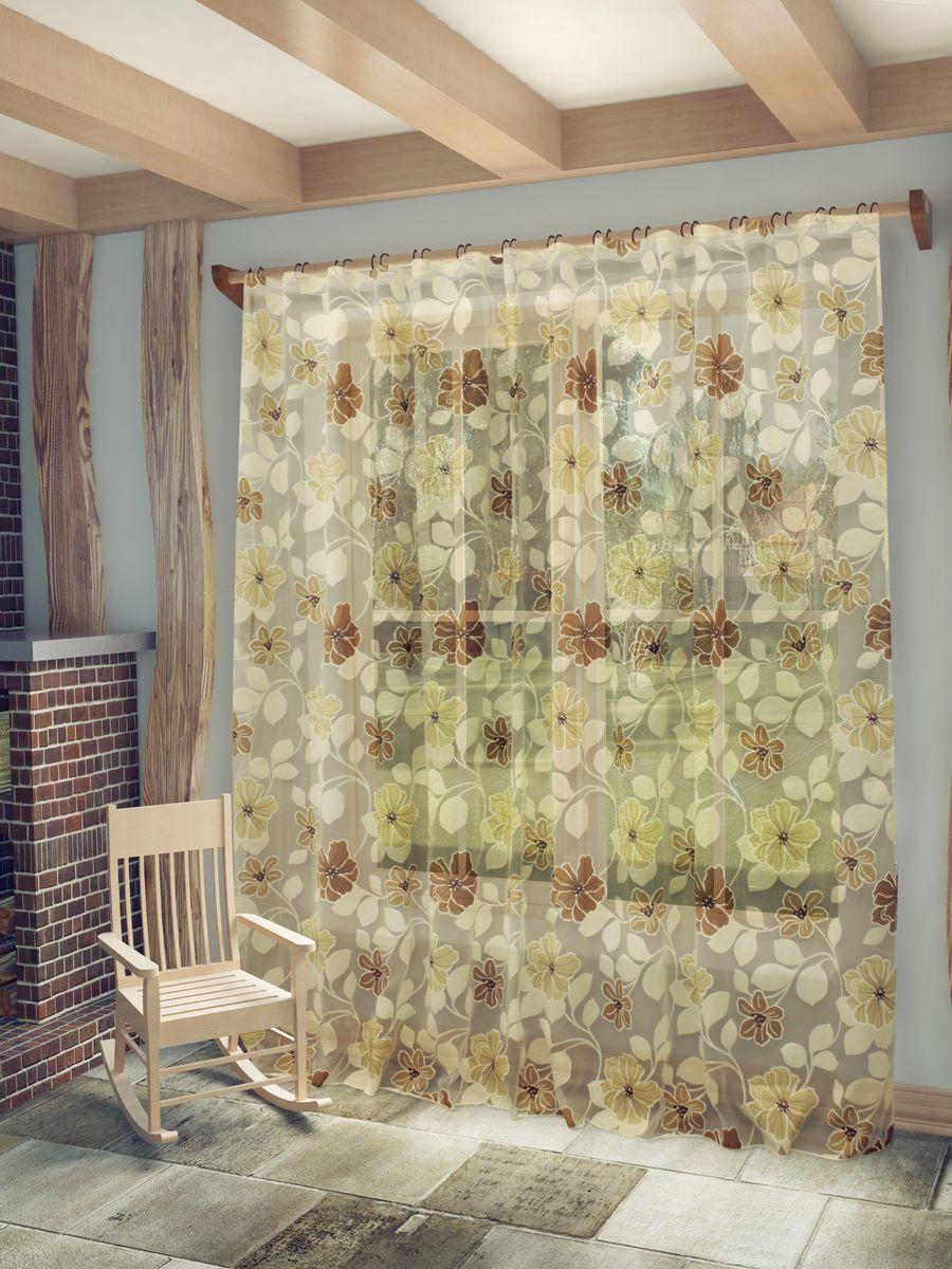 Тюль Sanpa Home Collection Юдора, на ленте, цвет: бежевый, коричневый, высота 260 см1004900000360Тюль Юдора нежного цвета изготовлена из органзы. Тюль сделает ваш интерьер более нежным, воздушным и невесомым. Можно драпировать окно только тюлью или только портьерами, но вместе они создают идеальную композицию. Мы рекомендуем под однотонные портьеры нейтральных тонов подбирать сложносочиненную тюль, с изысканной вышивкой и орнаментом, а под портьеры с рисунком или ярких тонов - выбирать тюль с минималистичным рисунком или вообще без него.Крепление к карнизу осуществляется при помощи вшитой шторной ленты.