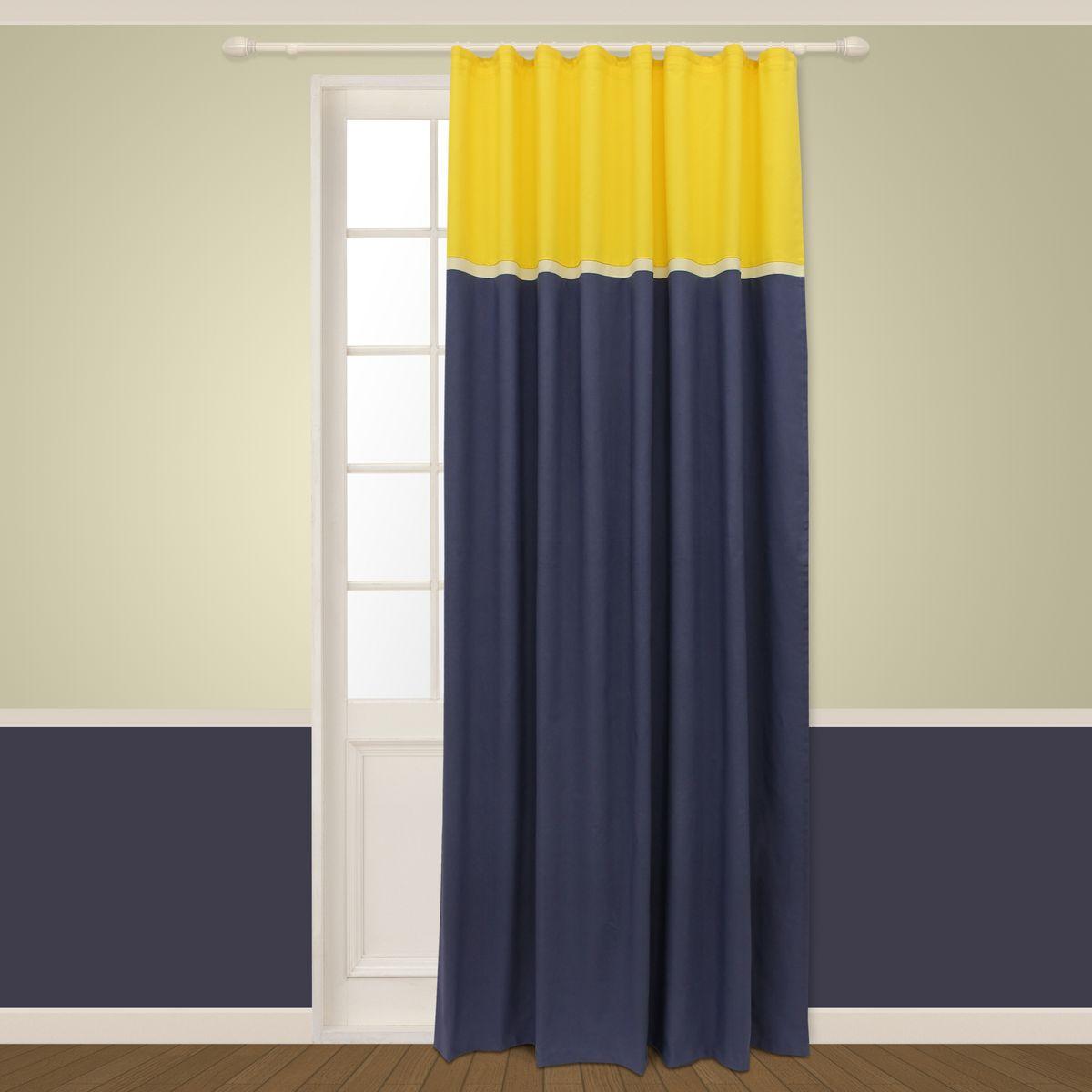 Штора Sanpa Home Collection Меланта, на ленте, цвет: желтый, синий, высота 260 смSVC-300Штора Меланта в двухцветном исполнении изготовлена из хлопка.Шторы - это немаловажный, но всё же аксессуар в вашем доме, поэтому их стиль нужно подбирать, исходя из дизайна в вашей квартире. Например, тяжелые и выполненные из дорогих тканей шторы прекрасно впишутся в классическую гостиную. А вот для современных стилей могут быть использованы шторы с более простым оформлением. Крепление к карнизу осуществляется при помощи вшитой шторной ленты.