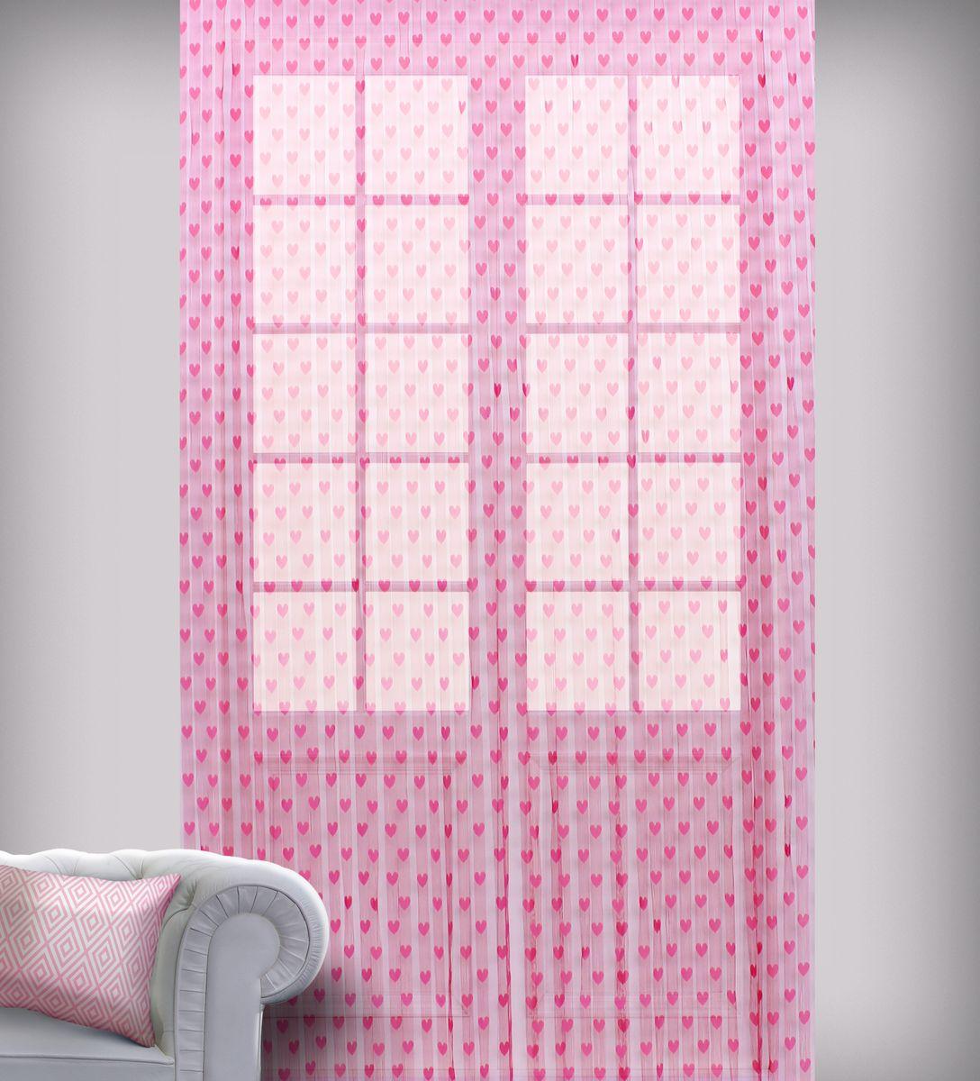 Штора нитяная Sanpa Home Collection, на ленте, цвет: розовый, высота 290 см1004900000360Штора нитяная Sanpa Home Collection, выполненная из текстиля, подходит как для зонирования пространства, так и для декорации окна, как самостоятельное решение или дополнение к шторам. Такая штора великолепно дополнит интерьер вашего дома и станет отличным дизайнерским решением.