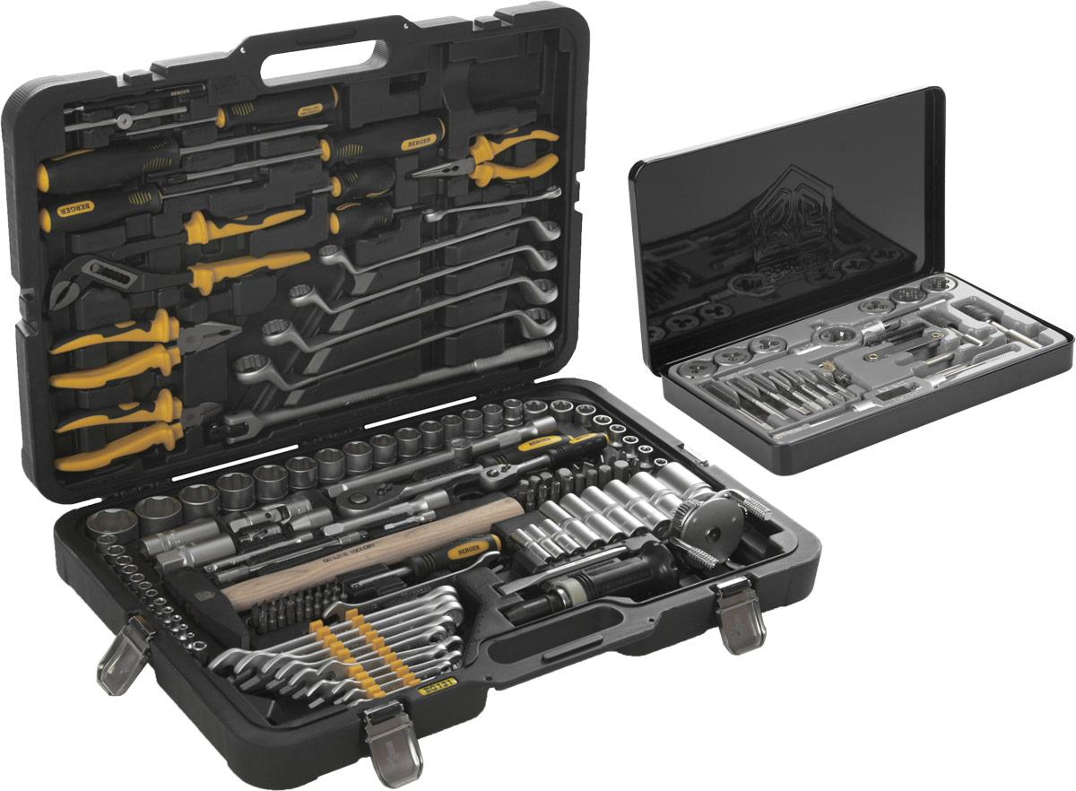 Набор инструментов Berger, 131 предмет + ПОДАРОК: Набор плашек и метчиков Berger, 21 предметCA-3505Профессиональные слесарно-монтажные инструменты Berger, входящие в набор, выполнены из высококачественной инструментальной хромованадиевой стали. Изготовлены по уникальной технологии закаливания и гальванизации. В комплект входят торцевые головки с профилем Super Lock. Работают с метрическим и дюймовым крепежом. Легко отворачивают крепеж с сорванными гранями. Фрикционные насечки предотвращают выскальзывание торцевой головки из руки. Ручки предметов изготовлены из высокотехнологичного пластика и резины. Не деформируются при работе, устойчивы к воздействию масла и бензина. Эргономичная форма рукояток удобно фиксируется в руке и не скользит. Трещотки имеют 45 зубов. Усиленный механизм выдерживает серьезные нагрузки. Трещотки можно разбирать для смазки или замены механизма. В комплект входит оригинальный и стильный кейс, изготовленный из высокотехнологичного пластика. Ударопрочный и морозостойкий. Инструмент четко фиксируется в пазах. Металлические замки не трескаются и не ломаются. Стальные петли выдерживают более 100000 открываний и закрываний.В комплект входит набор плашек и метчиков, предназначенных для нарезания, калибрования внешней и внутренней резьбы. Плашки и метчики изготовлены из инструментальной легированной стали 9ХС (средняя твердость 61 HRC), обладают повышенной износостойкостью, упругостью, сопротивлением к изгибу и кручению, стойкостью к контактным нагрузкам. Удобный кейс обеспечивает сохранность и мобильность набора.Состав подарочного набора:Плашка: М3 х 0,5 мм, М4 х 0,7 мм, М5 х 0,8 мм, М6 х 1 мм, М8 х 1,25 мм, М10 х 1,5 мм, М12 х 1,25 мм.Метчик однопроходной: М3 х 0,5 мм, М4 х 0,7 мм, М5 х 0,8 мм, М6 х 1 мм, М8 х 1,25 мм, М10 х 1,5 мм, М12 х 1, 25 мм.Ключ для плашек 25 х 9.Ключ для метчиков: М3-М12.Ключ быстрозажимной для метчиков Т-образный: М3-М6.Ключ быстрозажимной для метчиков Т-образный: М5-М12.Резьбомер: 0,5-2,5 мм.Щетка.Отвертка.Состав набора:1/4