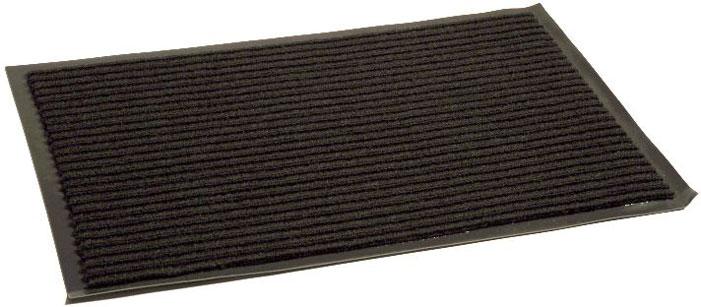 Коврик придверный InLoran Стандарт, влаговпитывающий, ребристый, цвет: черный, 90 х 120 смCLP446Высота покрытия ~10 мм, иглопробивной петлевой ворс, удержание влаги и грязи на 1квадратный метр до 5 кг, материал изготовления - полиамид, винил
