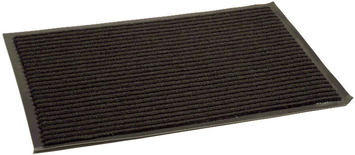 Коврик придверный InLoran Стандарт, влаговпитывающий, ребристый, цвет: черный, 40 х 60 см74-0140Высота покрытия ~10 мм, иглопробивной петлевой ворс, удержание влаги и грязи на 1квадратный метр до 5 кг, материал изготовления - полиамид, винил