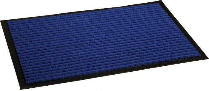 Коврик придверный InLoran Стандарт, влаговпитывающий, ребристый, цвет: синий, 40 х 60 смES-412Высота покрытия ~10 мм, иглопробивной петлевой ворс, удержание влаги и грязи на 1квадратный метр до 5 кг, материал изготовления - полиамид, винил