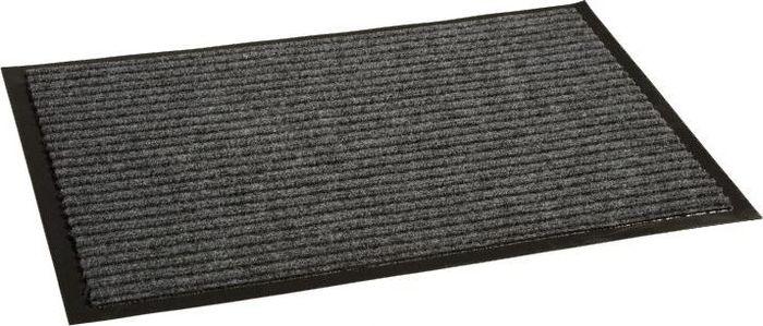 Коврик придверный InLoran Стандарт, влаговпитывающий, ребристый, цвет: серый, 60 х 90 см531-105Высота покрытия ~10 мм, иглопробивной петлевой ворс, удержание влаги и грязи на 1квадратный метр до 5 кг, материал изготовления - полиамид, винил