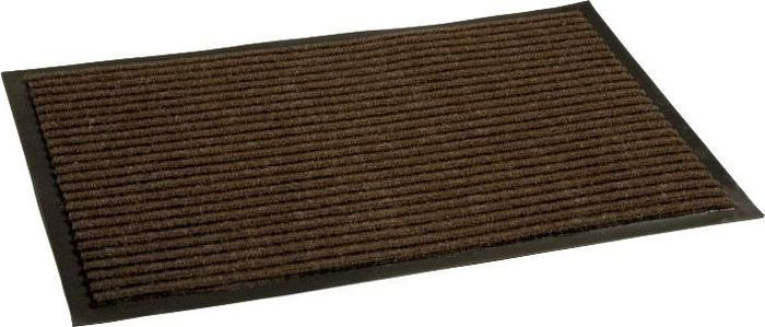 Коврик придверный InLoran Стандарт, влаговпитывающий, ребристый, цвет: коричневый, 40 х 60 смES-412Высота покрытия ~10 мм, иглопробивной петлевой ворс, удержание влаги и грязи на 1квадратный метр до 5 кг, материал изготовления - полиамид, винил