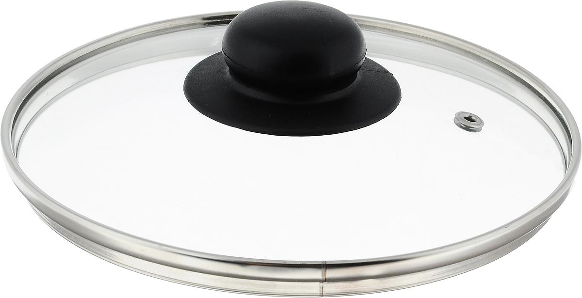 Крышка стеклянная NaturePan. Диаметр 18 см. Л275054 009312Крышка NaturePan изготовлена из высококачественного жаропрочного стекла. Изделие имеет металлический обод и отверстие для выпуска пара. Крышка оснащена удобной ненагревающейся ручкой из пластика. Такая крышка позволит следить за процессом приготовления пищи без потери тепла. Она плотно прилегает к краям посуды, сохраняя аромат блюд. Можно мыть в посудомоечной машине.