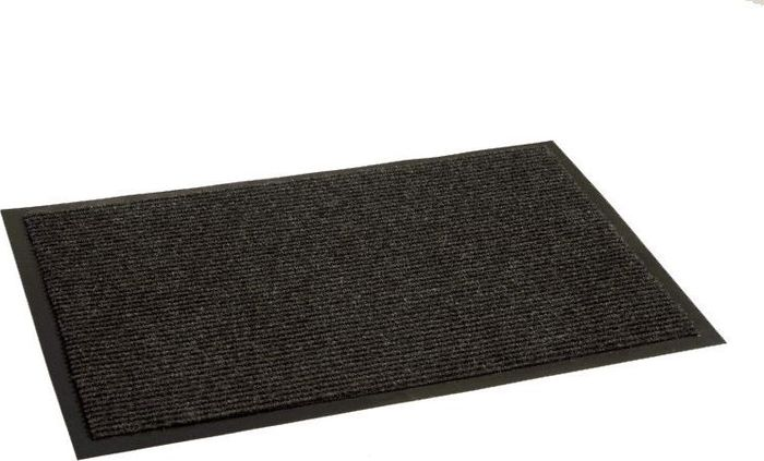 Коврик придверный InLoran Комфорт, влаговпитывающий, ребристый, цвет: черный, 60 х 90 смES-412Высота покрытия ~9 мм, иглопробивной ворс, удержание влаги и грязи на 1квадратный метр до 5 кг, материал изготовления - полиамид, винил