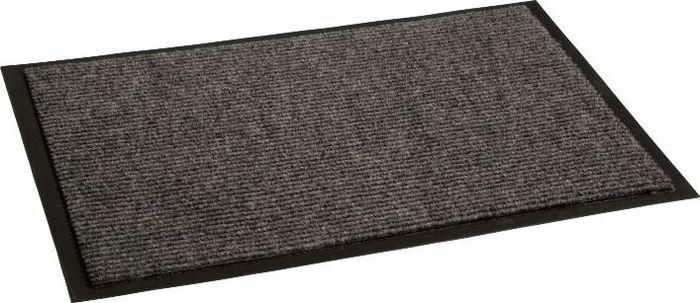 Коврик придверный InLoran Комфорт, влаговпитывающий, ребристый, цвет: серый, 40 х 60 смStormВысота покрытия ~9 мм, иглопробивной ворс, удержание влаги и грязи на 1квадратный метр до 5 кг, материал изготовления - полиамид, винил
