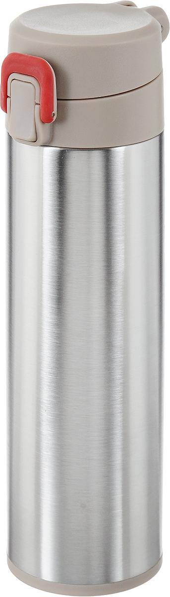 Термос Tescoma Constant Mocca, с замком, 0,5 л. 318581115510Спортивный термос Tescoma Constant Mocca сохранит напитки горячими или холодными. Двойная колба из нержавеющей стали сохраняет и поддерживает первоначальную температуру напитка, поэтому вы сможете насладиться теплым чаем или любимым прохладительным напитком. Термос оснащен крышкой с кнопкой и замком, предохраняющим от преднамеренного открытия во время занятий спортом или путешествий. Объем термоса: 0,5 л.Диаметр термоса (по верхнему краю): 5 см.Высота термоса (с учетом крышки): 24,5 см.
