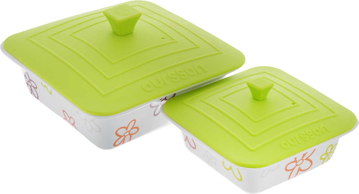 Набор мисок Oursson Bon Appetit, с силиконовыми крышками, цвет: белый, зеленое яблоко, 2 шт. BW2505SC115510Набор Oursson Bon Appetit состоит из двух мисок разного размера, выполненных из керамики и оформленных цветочным рисунком. Керамика, из которой изготовлены емкости, выдерживает температуру до 250°С, поэтому подать блюда на стол можно сразу после приготовления в микроволновой печи или духовом шкафу. Миски снабжены силиконовыми крышками.Миски являются универсальным приобретением для любой кухни. С их помощью можно готовить блюда, хранить продукты и даже сервировать стол. Оригинальный дизайн, высокое качество и функциональность набора Oursson Bon Appetit позволят ему стать достойным дополнением к вашему кухонному инвентарю. Можно мыть в посудомоечной машине.Характеристика емкости №1: Объем: 1,9 л.Размер формы (без учета крышки): 23,5 х 23,5 см. Высота стенки формы: 7,7 см.Размер крышки: 23,8 х 23,8 см.Характеристика емкости №2: Объем: 0,66 л. Размер формы (без учета крышки): 17,8 х 17,8 см.Высота стенки формы: 5,7 см. Размер крышки: 17,5 х 17,5 см.