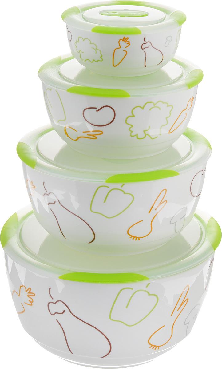 Набор мисок Oursson Bon Appetit, с крышками, цвет: зеленое яблоко, белый, 4 шт54 009312Набор Oursson состоит из четырех мисок разного размера, выполненных из керамики иоформленных рисунком. Керамика, из которой изготовлены емкости, выдерживает температурудо 250°С, поэтому подать блюда на стол можно сразу после приготовления в микроволновойпечи или духовом шкафу. Миски снабжены плотно закрывающимися пластиковыми крышками с технологией Clip Fresh.Такой набор прекрасно подходит для хранения продуктов и соусов без проливания, которые непрольются при переноске благодаря силиконовому уплотнителю, обеспечивающему 100% герметичность. Миски являются универсальным приобретением для любой кухни. С их помощью можноготовить блюда, хранить продукты и даже сервировать стол. Оригинальный дизайн, высокоекачество ифункциональность набора Oursson позволят ему стать достойным дополнением к вашемукухонному инвентарю. Можно мыть в посудомоечной машине.Характеристика емкости №1:Объем: 3 л. Высота стенки: 11,2 см.Диаметр (по верхнему краю): 21,3 см.Характеристика емкости №2:Объем: 1,7 л. Высота стенки: 9 см. Диаметр (по верхнему краю): 18,1 см. Характеристика емкости №3:Объем: 850 мл. Высота стенки: 6,8 см. Диаметр (по верхнему краю): 15 см. Характеристика емкости №4:Объем: 300 мл. Высота стенки: 4,6 см. Диаметр (по верхнему краю): 10,9 см.
