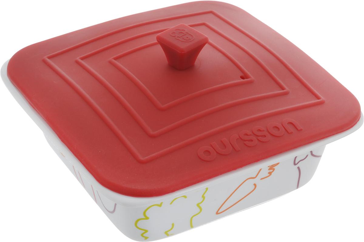 Форма для запекания Oursson Овощи, с силиконовой крышкой, цвет: бордовый, белый, 18 х 17,5 х 6,5 смFS-91909Форма для запекания пищи Oursson Овощи, изготовленная из керамики с силиконовой крышкой,идеально подойдет для приготовления мяса, рыбы, овощей и десертов без добавления масла.Такую форму можно использовать в духовке, микроволновой печи ихолодильнике, мыть в посудомоечной машине. Температура использования силиконовойкрышки может доходить до 220°С, а формы до 250°С . Силиконовая крышка дополнена небольшим вентиляционным отверстием.Можно использовать в посудомоечной машине.Яркая и красивая керамическая форма украсит любой стол и выгодно подчеркнет достоинстваваших блюд.Объем: 0,66 л.Размер формы (без учета крышки): 18 х 17,5 х 6,5 см.Размер крышки: 17,5 х 17,5 см.