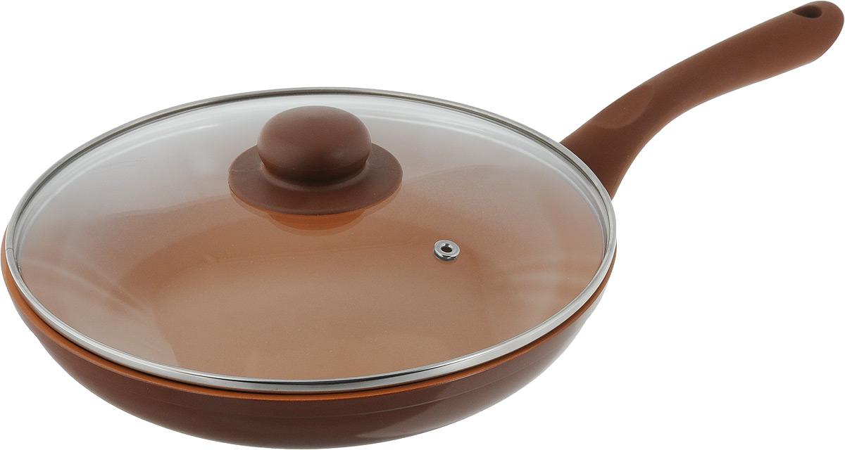 Сковорода NaturePan Ceramic, с крышкой, с керамическим покрытием. Диаметр 24 смFS-91909Сковорода NaturePan Ceramic, выполнена из алюминия и имеет современное керамическое покрытие Greblon Ceramic. Благодаря такому покрытию, внутренняя ивнешняя поверхность сковороды хорошо моется, устойчива к царапинам. Усиленное кованное дно служит для равномерного распределения тепла и лучшегоприготовления пищи. Эргономичная пластиковая ручка не скользит в руке и приятна на ощупь. Крышка, изготовленная из термостойкого стекла, оснащена ручкой и пароотводом. Такая крышка позволяет следить за процессом приготовления пищи без потери тепла. Она плотно прилегает к краю посуды, сохраняя аромат блюд. Яркие цвета внутреннего и внешнего покрытия подчеркивают изысканность блюда при приготовлении и создают атмосферу комфорта и уюта на любой кухне. Диаметр: 24 см.Высота стенки: 4,5 см.Длина ручки: 17,5 см.