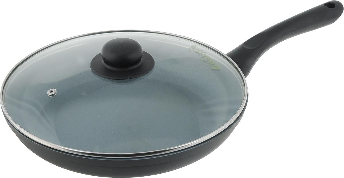 Сковорода NaturePan Classic с крышкой, с керамическим покрытием. Диаметр 26 см68/5/4Сковорода NaturePan Classic выполнена из высококачественного алюминия с антипригарным керамическим покрытием. Покрытие абсолютно безопасно для здоровья, так ка не содержит PTFE и PFOA. Керамическое покрытие позволит вам готовить вкусную и здоровую еду с минимальным добавлением масла и жира.Сковорода оснащена удобной пластиковой ручкой, которая не нагревается. В комплект входит крышка из жаропрочного стекла. Крышка оснащена удобной ручкой и металлическим ободом и имеет отверстие для выпуска пара.Подходит для всех типов плит, кроме индукционных. Разрешена только ручная мойка.Высота стенки: 4,5 см. Длина ручки: 16 см.