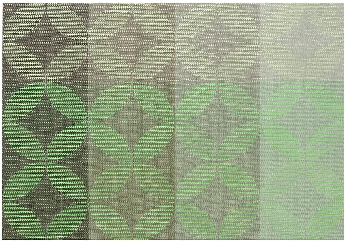 Салфетка для сервировки Oursson Круги, цвет: серо-зеленый, 30 х 45 см115510Салфетка для сервировки стола Oursson Круги выполнена на 70% из поливинила и на 30% из полиэстера. Изделие предназначено для ежедневной защиты поверхностей от загрязнений и повреждений, обладает высокой износоустойчивостью, рассчитано на многократное использование. Легко моется мягкими чистящими средствами.Размер салфетки: 30 х 45 см.