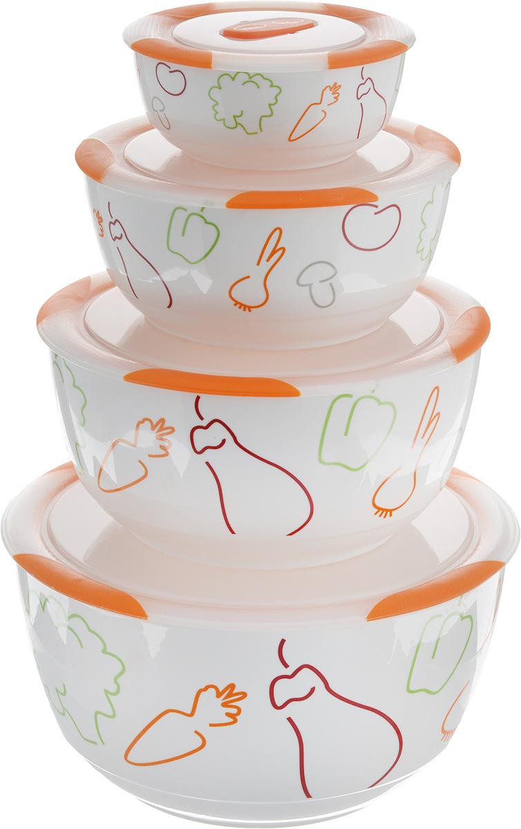 Набор мисок Oursson Bon Appetit, с крышками, цвет: оранжевый, белый, 4 шт10286BНабор Oursson состоит из четырех мисок разного размера, выполненных из керамики и оформленных рисунком. Керамика, из которой изготовлены емкости, выдерживает температуру до 250°С, поэтому подать блюда на стол можно сразу после приготовления в микроволновой печи или духовом шкафу. Миски снабжены плотно закрывающимися пластиковыми крышками с технологией Clip Fresh. Такой набор прекрасно подходит для хранения продуктов и соусов без проливания, которые не прольются при переноске благодаря силиконовому уплотнителю, обеспечивающему 100%герметичность. Миски являются универсальным приобретением для любой кухни. С их помощью можно готовить блюда, хранить продукты и даже сервировать стол. Оригинальный дизайн, высокое качество ифункциональность набора Oursson позволят ему стать достойным дополнением к вашему кухонному инвентарю. Можно мыть в посудомоечной машине.Характеристика емкости №1:Объем: 3 л. Высота стенки: 11,3 см.Диаметр (по верхнему краю): 21,3 см.Характеристика емкости №2:Объем: 1,7 л. Высота стенки: 9 см. Диаметр (по верхнему краю): 18,1 см. Характеристика емкости №3:Объем: 850 мл. Высота стенки: 6,8 см. Диаметр (по верхнему краю): 15 см. Характеристика емкости №4:Объем: 300 мл. Высота стенки: 4,6 см. Диаметр (по верхнему краю): 10,9 см.