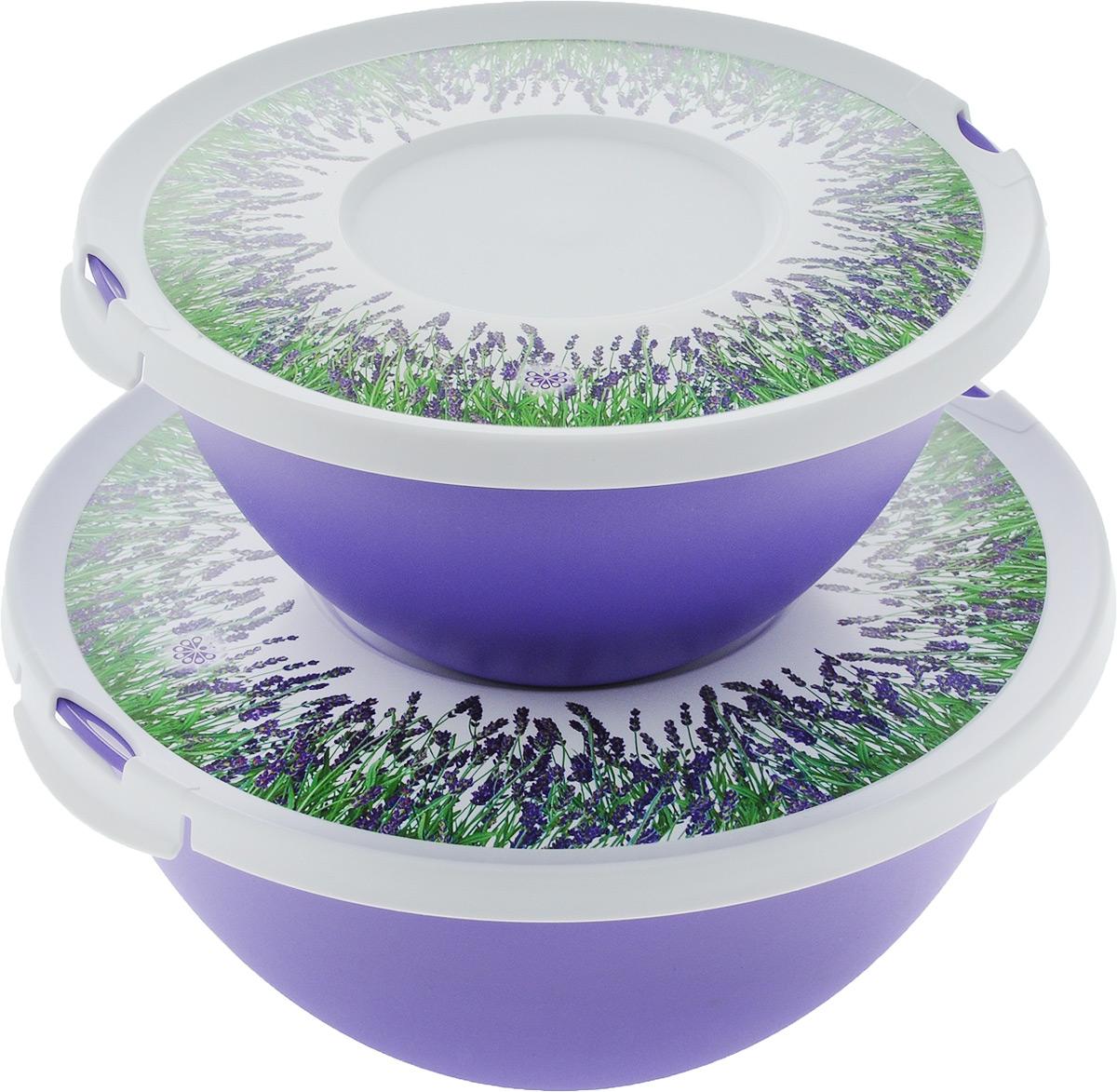 Набор мисок Полимербыт Лаванда, с крышками, 2 штFS-91909Набор Полимербыт Лаванда состоит из двух мисок разного объема. Миски оснащены крышками, закрывающимися на 2 защелки. Изделия очень функциональные, они пригодятся на кухне для самых разнообразных нужд: для хранения продуктов и красивой сервировки стола. Объем мисок: 2 л, 4 л. Диаметр мисок (по верхнему краю): 22 см, 27 см. Высота мисок: 11 см, 13 см.