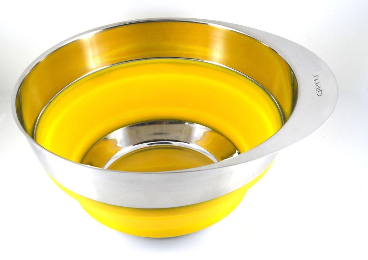 Миска Gipfel, складная, цвет: желтый, диаметр 25,4 см115510Посуда Gipfel изготовлена только из качественных, экологически чистых материалов. Также уделяется особое внимание дизайну продукции, способному удовлетворять вкусы даже самых взыскательных покупателей. Сталь 8/10, из которой изготавливается посуда и аксессуары Gipfel, является уникальной. Она отличается высокими эксплуатационными характеристиками и крайне устойчива к физическим воздействиям. Сложно найти более подходящий для создания качественной кухонной посуды материал. Отличительной чертой металлической посуды, выполненной из подобной стали, является характерный сероватый оттенок поверхности и особый блеск. Это позволяет приготовить более здоровую пищу.
