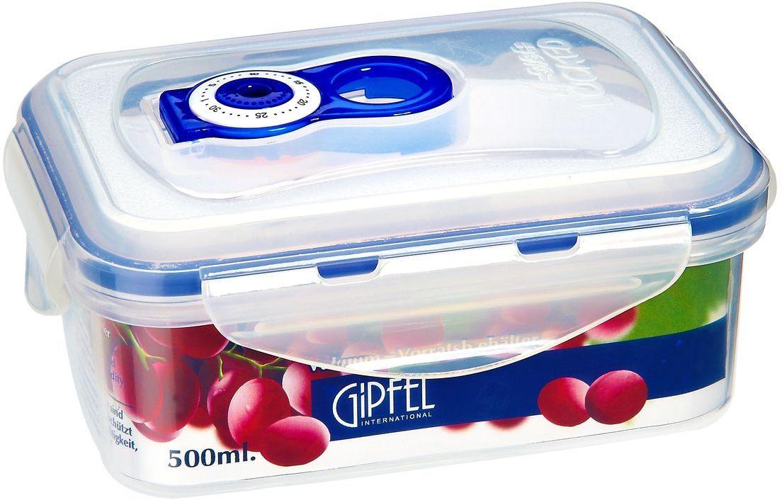 Контейнер вакуумный Gipfel, 500 мл4531Вакуумный контейнер Gipfel, изготовленный из высококачественного пищевого пластика, предназначен для сохранения свежести, аромата, цвета и питательных веществ любых продуктов питания. Контейнер может использоваться для маринования и для хранения продуктов в холодильнике и морозилке.Хранение продуктов в вакуумных контейнерах не заменяет обычных способов хранения, а дополняет их, ведь таким образом срок хранения увеличивается в 3-4 раза. Вакуум, образованный путем удаления воздуха из посуды, приостанавливает размножение бактерий и окисление продуктов. Так, сроки хранения в холодильнике (при температуре от 3°С до 5°С) возрастают (приблизительно): для мяса - с 3 до 10 дней, для сыра - с 12 до 25 дней, для овощей - с 4 до 8 дней, для хлеба - с 2 до 10 дней, для пирожных - с 4 до 10 дней.