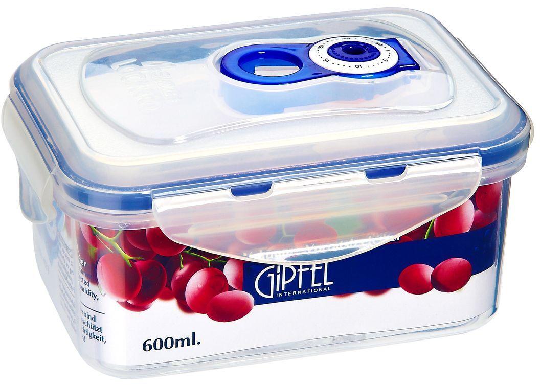 Контейнер вакуумный Gipfel, 600 млПЦ2357ЛМВакуумный контейнер Gipfel, изготовленный из высококачественного пищевого пластика, предназначен для сохранения свежести, аромата, цвета и питательных веществ любых продуктов питания. Контейнер может использоваться для маринования и для хранения продуктов в холодильнике и морозилке.Хранение продуктов в вакуумных контейнерах не заменяет обычных способов хранения, а дополняет их, ведь таким образом срок хранения увеличивается в 3-4 раза. Вакуум, образованный путем удаления воздуха из посуды, приостанавливает размножение бактерий и окисление продуктов. Так, сроки хранения в холодильнике (при температуре от 3°С до 5°С) возрастают (приблизительно): для мяса - с 3 до 10 дней, для сыра - с 12 до 25 дней, для овощей - с 4 до 8 дней, для хлеба - с 2 до 10 дней, для пирожных - с 4 до 10 дней.