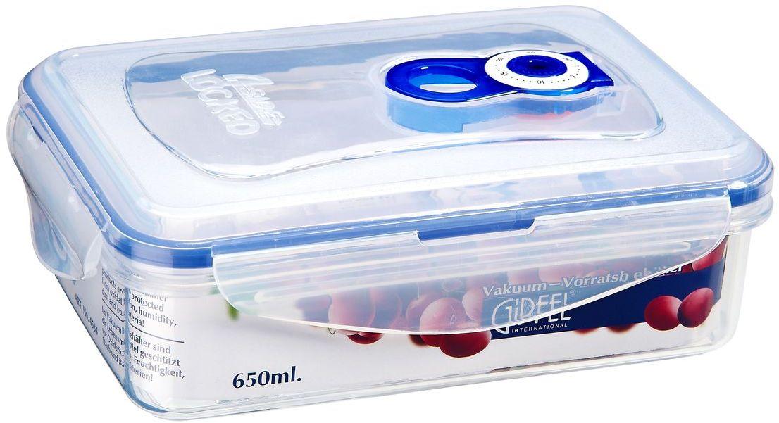 Контейнер вакуумный Gipfel, 650 млFD-59Вакуумный контейнер Gipfel, изготовленный из высококачественного пищевого пластика, предназначен для сохранения свежести, аромата, цвета и питательных веществ любых продуктов питания. Контейнер может использоваться для маринования и для хранения продуктов в холодильнике и морозилке.Хранение продуктов в вакуумных контейнерах не заменяет обычных способов хранения, а дополняет их, ведь таким образом срок хранения увеличивается в 3-4 раза. Вакуум, образованный путем удаления воздуха из посуды, приостанавливает размножение бактерий и окисление продуктов. Так, сроки хранения в холодильнике (при температуре от 3°С до 5°С) возрастают (приблизительно): для мяса - с 3 до 10 дней, для сыра - с 12 до 25 дней, для овощей - с 4 до 8 дней, для хлеба - с 2 до 10 дней, для пирожных - с 4 до 10 дней.