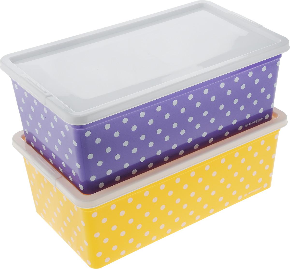 Набор контейнеров для хранения Полимербыт Горох, цвет: фиолетовый, желтый, белый, 2 штCLP446Набор Полимербыт Горох состоит из двух контейнеров, которые выполнены из высококачественного пластика. Изделия оформлены принтом в горох. Контейнеры оснащены крышками, которые плотно закрывают изделия. Контейнеры очень вместительные и помогут вам хранить все необходимые мелочи в одном месте. Размер контейнера: 34 х 19 см. Высота контейнера: 12 см.