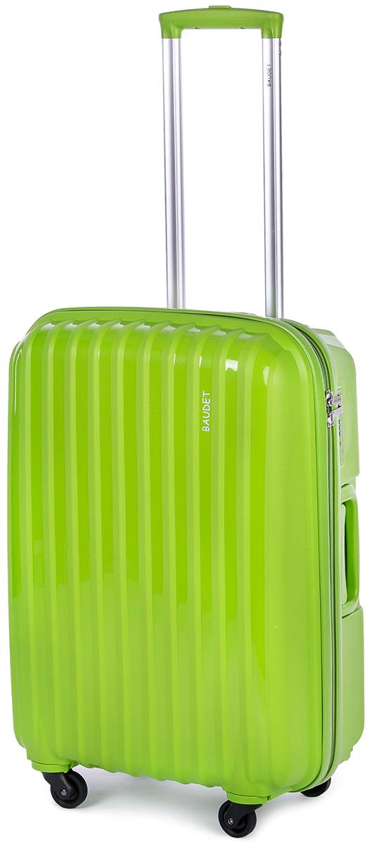 Чемодан Baudet, цвет: зеленый, 60 х 42 х 24 см, 60 лBHL0708801-60Чемодан Baudet надежный и практичныйв путешествии.Выполнен из прочного и ударостойкого полипропилена, материал внутренней отделки - полиэстеровая ткань серого цвета. Чемодан содержит продуманную внутреннюю организацию. Имеется одно большое отделение, которое закрывается по периметру на застежку-молнию. Внутри содержатся два больших отдела для хранения одежды. Для легкой и удобной перевозки чемодан оснащен четырьмяколесами, вращающимися на 360 градусов. Телескопическая ручка выдвигается нажатием на кнопку и фиксируется в двух положениях. Сверху и сбоку предусмотрены ручки для поднятия чемодана.Гарантия на чемодан 2 года.Чемодан оснащен кодовым замком TSA, который исключает возможность взлома. Отверстие для ключав кодовом замке предназначено для работников таможни (открытие багажа для досмотра без присутствия хозяина). Ключ находится только у таможни и в комплекте с чемоданом не идет.