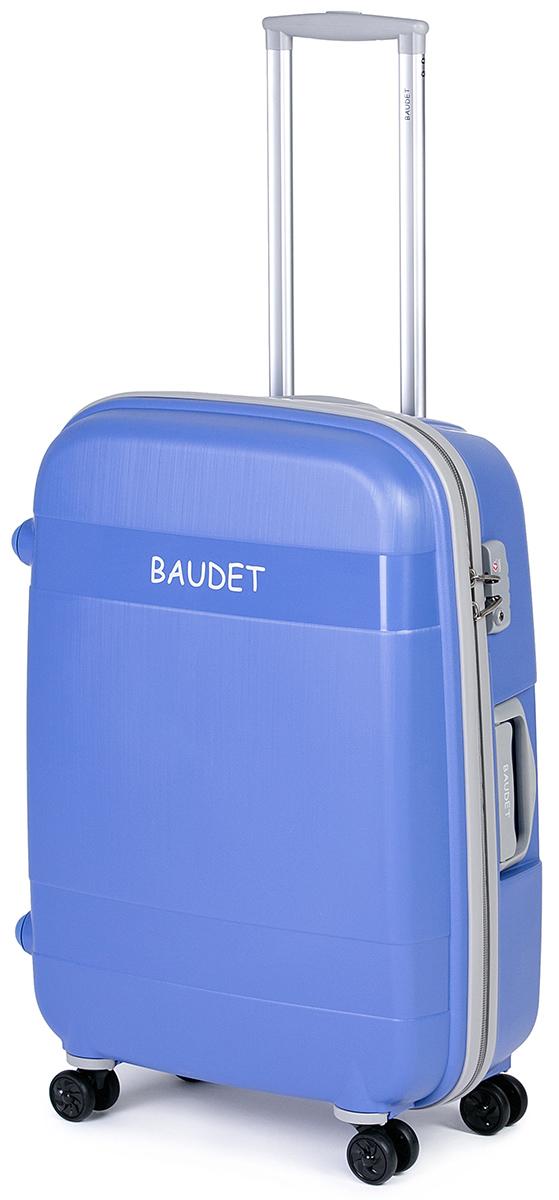 Чемодан Baudet, цвет: голубой, 75 х 55 х 30 см, 123 лBHL0708802-75Чемодан Baudet надежный и практичныйв путешествии.Выполнен из прочного и ударостойкого полипропилена, материал внутренней отделки - полиэстеровая ткань серого цвета. Чемодан содержит продуманную внутреннюю организацию. Имеется одно большое отделение, которое закрывается по периметру на застежку-молнию. Внутри содержатся два больших отдела для хранения одежды. Для легкой и удобной перевозки чемодан оснащен четырьмяколесами, вращающимися на 360 градусов. Телескопическая ручка выдвигается нажатием на кнопку и фиксируется в двух положениях. Сверху и сбоку предусмотрены ручки для поднятия чемодана.Гарантия на чемодан 2 года.Чемодан оснащен кодовым замком TSA, который исключает возможность взлома. Отверстие для ключав кодовом замке предназначено для работников таможни (открытие багажа для досмотра без присутствия хозяина). Ключ находится только у таможни и в комплекте с чемоданом не идет.