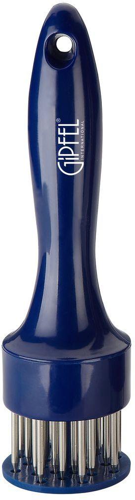 Тендерайзер Gipfel, цвет: голубой, длина 19 см115510Посуда Gipfel изготовлена только из качественных, экологически чистых материалов. Также уделяется особое внимание дизайну продукции, способному удовлетворять вкусы даже самых взыскательных покупателей. Сталь 8/10, из которой изготавливается посуда и аксессуары Gipfel, является уникальной. Она отличается высокими эксплуатационными характеристиками и крайне устойчива к физическим воздействиям. Сложно найти более подходящий для создания качественной кухонной посуды материал. Отличительной чертой металлической посуды, выполненной из подобной стали, является характерный сероватый оттенок поверхности и особый блеск. Это позволяет приготовить более здоровую пищу.