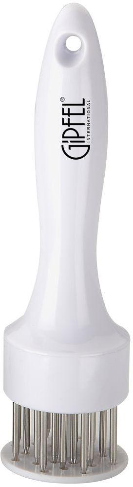 Тендерайзер Gipfel, цвет: белый, длина 19 см115510Тендерайзер Gipfel - это ручной аппарат для приготовления высококачественных отбивных. Разрыхлитель выполнен из прочного пищевого пластика со стальными стержнями. В отличие от отбивки молотком, обработка мяса тендерайзером не нарушает структуру мяса и его внешний вид. Мясо прокалывается в сотнях мест острыми ножами тендерайзера, благодаря чему оно становится мягче. Отложив в сторону молоток для отбивания мяса, и воспользовавшись тендерайзером, вы убедитесь в том, что любое мясо без костей после разрыхления жарится гораздо быстрее и остается мягким и сочным.Можно мыть в посудомоечной машине.