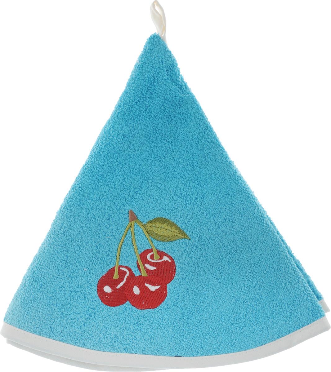 Полотенце кухонное Karna Zelina, цвет: голубой, диаметр 50 см10.01.03.0066Круглое кухонное полотенце Karna Zelina изготовлено из махровой ткани (100% хлопок), поэтому является экологически чистым. Качество материала гарантирует безопасность не только взрослым, но и самым маленьким членам семьи. Изделие мягкое и приятное на ощупь, оснащено удобной петелькой и украшено оригинальной вышивкой. Полотенце хорошо впитывает влагу, легко стирается в стиральной машине и обладает высокой износоустойчивостью. Кухонное полотенце Karna Zelina сделает интерьер вашей кухни стильным и гармоничным.Диаметр полотенца: 50 см.