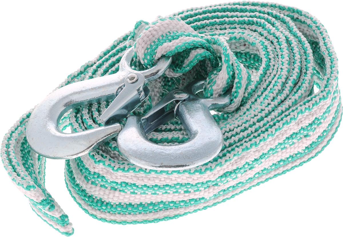 Трос буксировочный Azard, ленточный, с 2 крюками, цвет: зеленый, белый, 3,5 т, 4,5 мATR-D-7Буксировочный трос Azard представляет собой ленту из сверхпрочнойполиамидной (капроновой) нити и два металлических крюка. Специальное плетение ленты обеспечивает эластичность троса и плавный старт автомобиля при буксировке. На протяжении всего срока службы не меняет свои линейные размеры.Трос морозостойкий, влагостойкий и устойчив к агрессивным средами воздействию нефтепродуктов. Длина троса соответствует ПДД РФ.Буксировочный трос обязательно должен быть в каждом автомобиле. Он необходим на случай аварийной ситуации или если ваш автомобиль застрял на бездорожье.Максимальная нагрузка: 3,5 т.Длина троса: 4,5 м.