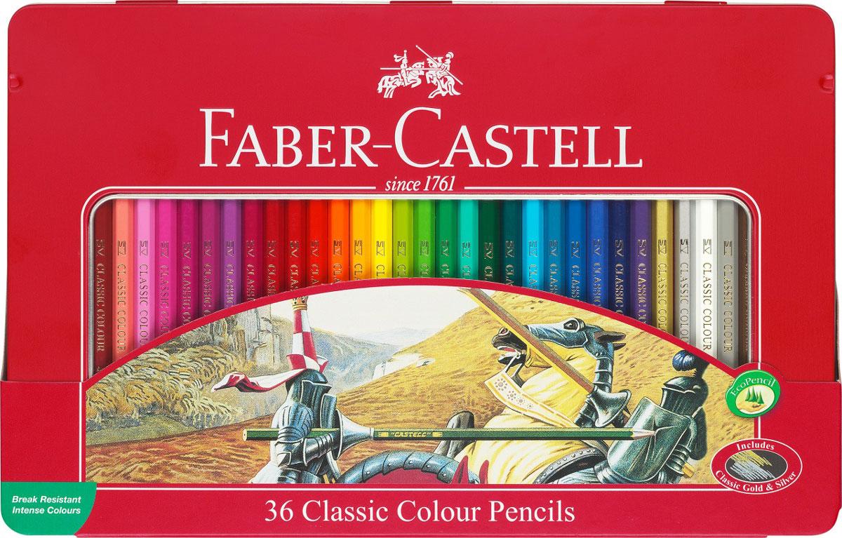 Faber-Castell Набор цветных карандашей Рыцарь 36 штFS-00102Набор цветных карандашей Faber-Castell Рыцарь - великолепный подарок для юных художников!В наборе ваш ребенок найдет 36 карандашей из мягкого дерева, которые легко поддаются заточке. Карандаши ярких оттенков позволяют достигать четкости контуров, насыщенности штриховки и многообразия полутонов. Классический шестигранный корпус карандаша очень удобен для детей, в том числе пишущих левой рукой. Грифель, даже при падении карандаша, не ломается, благодаря особой технологии SV вклеивания.Канцелярские товары немецкого производителя Faber Castell - это великолепное европейское качество и отличный подарок творческому ребенку!