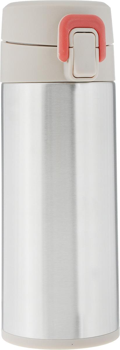 Термос Tescoma Constant Mocca, с замком, цвет: стальной, бежевый, 0,3 л115610Спортивный термос Tescoma Constant Mocca сохранит напитки горячими или холодными. Двойная колба из нержавеющей стали сохраняет и поддерживает первоначальную температуру напитка, поэтому вы сможете насладиться теплым чаем или любимым прохладительным напитком. Термос оснащен крышкой с кнопкой и замком, предохраняющим от преднамеренного открытия во время занятий спортом или путешествий. Объем термоса: 0,3 л.Диаметр термоса (по верхнему краю): 5 см.Высота термоса (с учетом крышки): 19,5 см.
