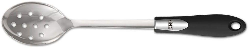 Ложка сервировочная Gipfel Orbit, с отверстиями54 009312Посуда Gipfel изготовлена только из качественных, экологически чистых материалов. Также уделяется особое внимание дизайну продукции, способному удовлетворять вкусы даже самых взыскательных покупателей. Сталь 8/10, из которой изготавливается посуда и аксессуары Gipfel, является уникальной. Она отличается высокими эксплуатационными характеристиками и крайне устойчива к физическим воздействиям. Сложно найти более подходящий для создания качественной кухонной посуды материал. Отличительной чертой металлической посуды, выполненной из подобной стали, является характерный сероватый оттенок поверхности и особый блеск. Это позволяет приготовить более здоровую пищу.