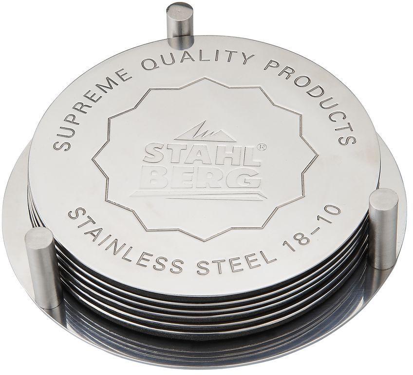 Набор подставок под горячее Stahlberg, диаметр 10 смVT-1520(SR)Посуда STAHLBERG изготовлена только из качественных, экологически чистых материалов. Также уделяется особое внимание дизайну продукции, способному удовлетворять вкусы даже самых взыскательных покупателей. Сталь 8/10, из которой изготавливается посуда и аксессуары STAHLBERG, является уникальной. Она отличается высокими эксплуатационными характеристиками и крайне устойчива к физическим воздействиям. Сложно найти более подходящий для создания качественной кухонной посуды материал. Отличительной чертой металлической посуды, выполненной из подобной стали, является характерный сероватый оттенок поверхности и особый блеск. Это позволяет приготовить более здоровую пищу.