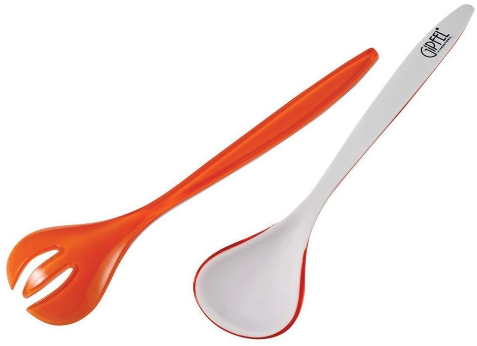 Набор приборов для салата Gipfel, цвет: оранжевый, белый, 2 предмета9407Набор приборов для салата Gipfel состоит из вилки и ложки для салата. Изделия выполнены из прочного пищевого пластика. Приборы предназначены для приготовления, перемешивания и подачи салатов или же других холодных блюд. Набор имеет современный яркий дизайн и прекрасно дополнит сервировку вашего стола. Приборы можно мыть в посудомоечной машине. Длина приборов: 26 см. Ширина рабочей поверхности: 5,5 см.