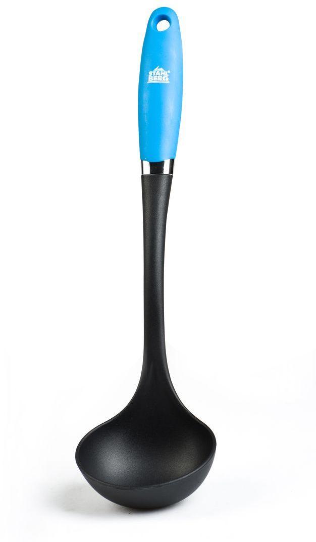 Половник Stahlberg Pluton, цвет: светло-голубой, длина 33,3 см54 009312Посуда STAHLBERG изготовлена только из качественных, экологически чистых материалов. Также уделяется особое внимание дизайну продукции, способному удовлетворять вкусы даже самых взыскательных покупателей. Сталь 8/10, из которой изготавливается посуда и аксессуары STAHLBERG, является уникальной. Она отличается высокими эксплуатационными характеристиками и крайне устойчива к физическим воздействиям. Сложно найти более подходящий для создания качественной кухонной посуды материал. Отличительной чертой металлической посуды, выполненной из подобной стали, является характерный сероватый оттенок поверхности и особый блеск. Это позволяет приготовить более здоровую пищу.