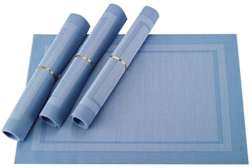 Набор салфеток для сервировки Gipfel Eden, цвет: голубой, 45 х 30 см, 4 шт9971Набор Gipfel Eden включает 4 салфетки для сервировки стола. Изделия выполнены из ПВХ и полиэстера. Это практичный материал, который не впитывает жир, запахи, а также легко моется под проточной водой. Салфетки приятно удивят вас своей прочностью, они могут годами оставаться все такими же яркими, крепкими и стильными. Эти салфетки гораздо надежнее обычной скатерти из текстиля. На них не остается следов от горячего, их легко мыть, а при необходимости вы всегда можете скрутить такую салфетку в компактный сверток и убрать в укромное место для хранения. Салфетки Gipfel Eden не только защитят поверхность стола, но и также помогут создать теплую и уютную атмосферу на кухне.