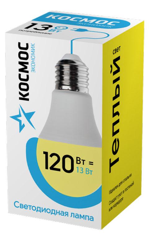 Лампа светодиодная Космос Экономик, 220V, А60, теплый свет, цоколь Е27, 13WC0038551Светодиодная лампа КОСМОС Замена стандартных ламп накаливания 120WМодель: А60 (ГРУША)Цоколь: Стандарт (Е27)Потребляемая мощность: 13WСветовой поток, лм: 1150Светодиоды: LED SMD 2835Чип: Epistar Индекс цветопередачи: Ra>70 Напряжение: 220V Угол, град: 270 Размер лампы (мм): 60 х 110Срок службы до 25 000 часовТемпература использования -40+40С Цветность – 3000KСпециальные возможности/особенности: СВЕТОДИОДНАЯ ЛАМПА А60 ( ГРУША ) 13 Вт серии Космос Экономик является аналогом лампы накаливания 120 Вт.В основе лампы используются чипы от мирового лидера Epistar- что обеспечивает надежную и стабильную работу в течение всего срока службы (25 000 часов). До 90% экономии энергии по сравнению с обычной лампой накаливания (сопоставимы по размеру); стабильный световой поток в течение всего срока службы; экологическая безопасность (не содержит ртути и тяжелых металлов); мягкое и равномерное распределение света повышает зрительный комфорт и снижает утомляемость глаз; благодаря высокому индексу цветопередачи свет лампы комфортен и передает естественные цвета и оттенки; инструкция по эксплуатации и гарантийный талон - в комплекте.