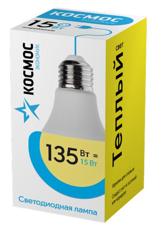 Лампа светодиодная Космос Экономик, 220V, А60, теплый свет, цоколь Е27, 15WC0038550Декоративная светодиодная лампа Экономик является аналогом лампы накаливания 135 Вт. В основе лампы используются чипы от мирового лидера Epistar- что обеспечивает надежную и стабильную работу в течение всего срока службы (25 000 часов). До 90% экономии энергии по сравнению с обычной лампой накаливания (сопоставимы по размеру). Стабильный световой поток в течение всего срока службы; экологическая безопасность (не содержит ртути и тяжелых металлов). Мягкое и равномерное распределение света повышает зрительный комфорт и снижает утомляемость глаз. Благодаря высокому индексу цветопередачи свет лампы комфортен и передает естественные цвета и оттенки. Инструкция по эксплуатации и гарантийный талон - в комплекте.