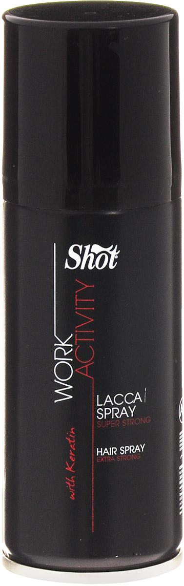 Shot Лак-спрей супер-сильной фиксации Work Activity Super Strong Hair Spray - 100 мл150279Лак спрей супер сильной фиксации: подходит для любого типа волос и причёсок. Не утяжеляет волосы, помогает дольше удерживать насыщенный цвет окрашенных волос. Специально разработанная формула на основе кератина защищает волосы от избыточной влажности.