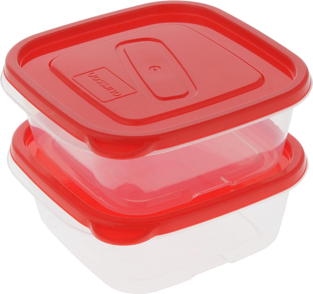 Набор контейнеров Oursson, квадратные, цвет: прозрачный, красный, 0,45 л, 2 штVT-1520(SR)Набор Oursson состоит из двух контейнеров, которые изготовлены из высококачественного пластика. Изделие идеально подходит не только для хранения, но и для транспортировки пищи. Контейнеры оснащены плотно закрывающимися крышками. Можно использовать в СВЧ-печах, холодильниках и морозильных камерах. Можно мыть в посудомоечной машине. Размер контейнеров (без учета крышки): 12 х 12 см. Высота контейнеров (без учета крышки): 5 см.