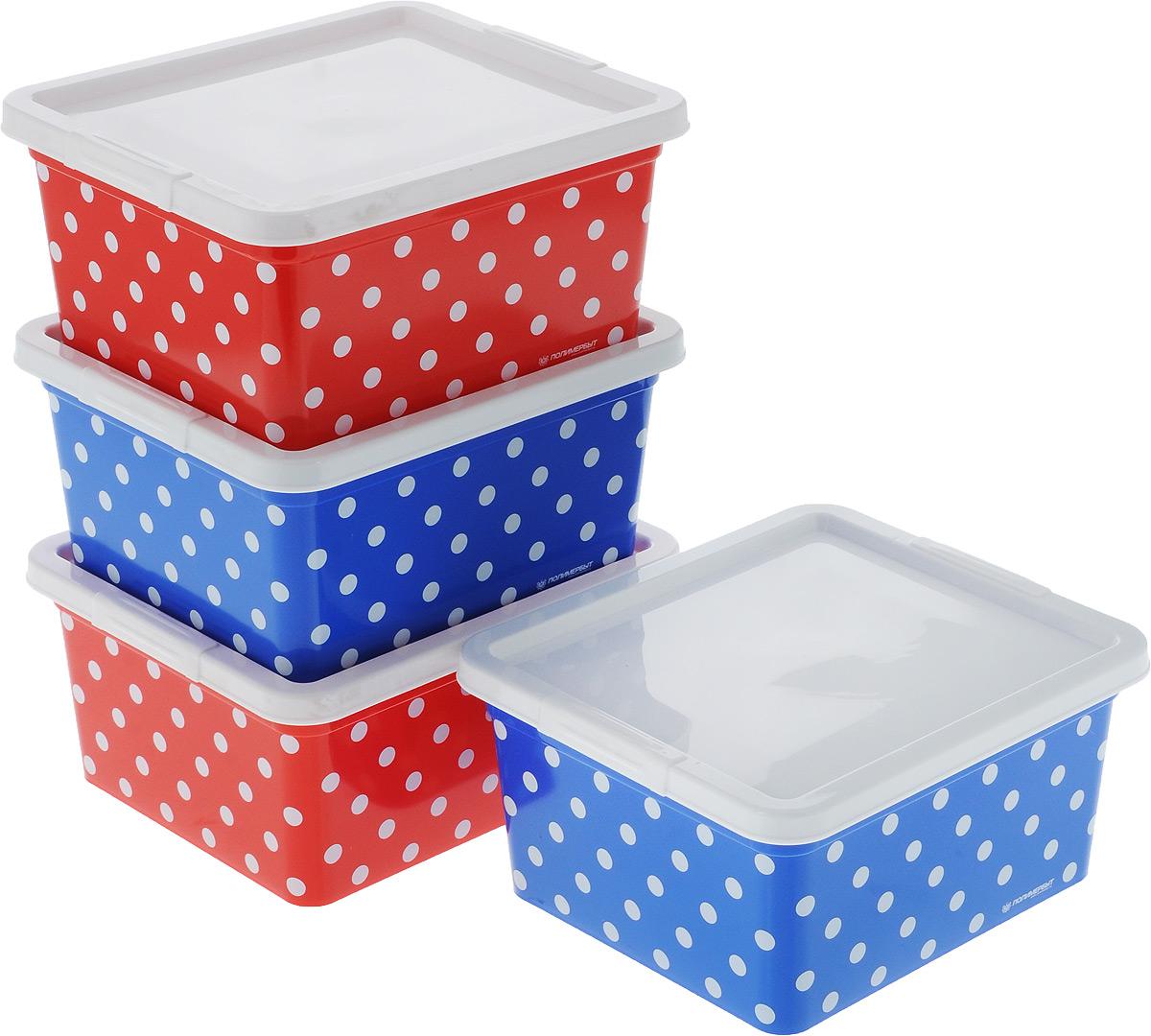 Набор контейнеров для хранения Полимербыт Горох, 4 шт. SGHPBKP69Брелок для ключейКомплект Полимербыт Горох состоит из четырех контейнеров для хранения различныхмелочей и принадлежностей. Изделия оформлены оригинальным принтом. Контейнеры оснащены крышками, которые плотно закрывают изделия. Объём контейнеров: 1,9 л. Размеры контейнера: 18 х 15,5 х 8,5 см