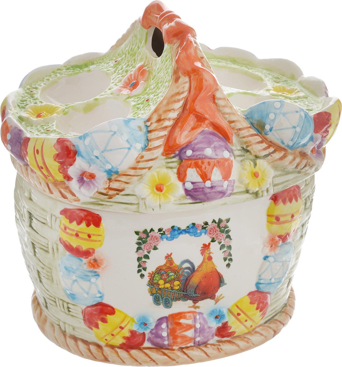 Ваза Win Max, для пасхальных яиц и угощений, 20 х 22 х 18 см115510Ваза Win Max изготовлена из высококачественной керамики с глазурованным покрытием и оформлена рельефным рисунком. Изделие дополнено крышкой, на которой расположены подставки для яиц. Крышка дополнена ручкой. Оригинальный дизайн украсит интерьер вашей кухни, а функциональность порадует любую хозяйку. Размеры емкости (без учета крышки): 19 х 16 х 11 смВысота крышки: 11 см
