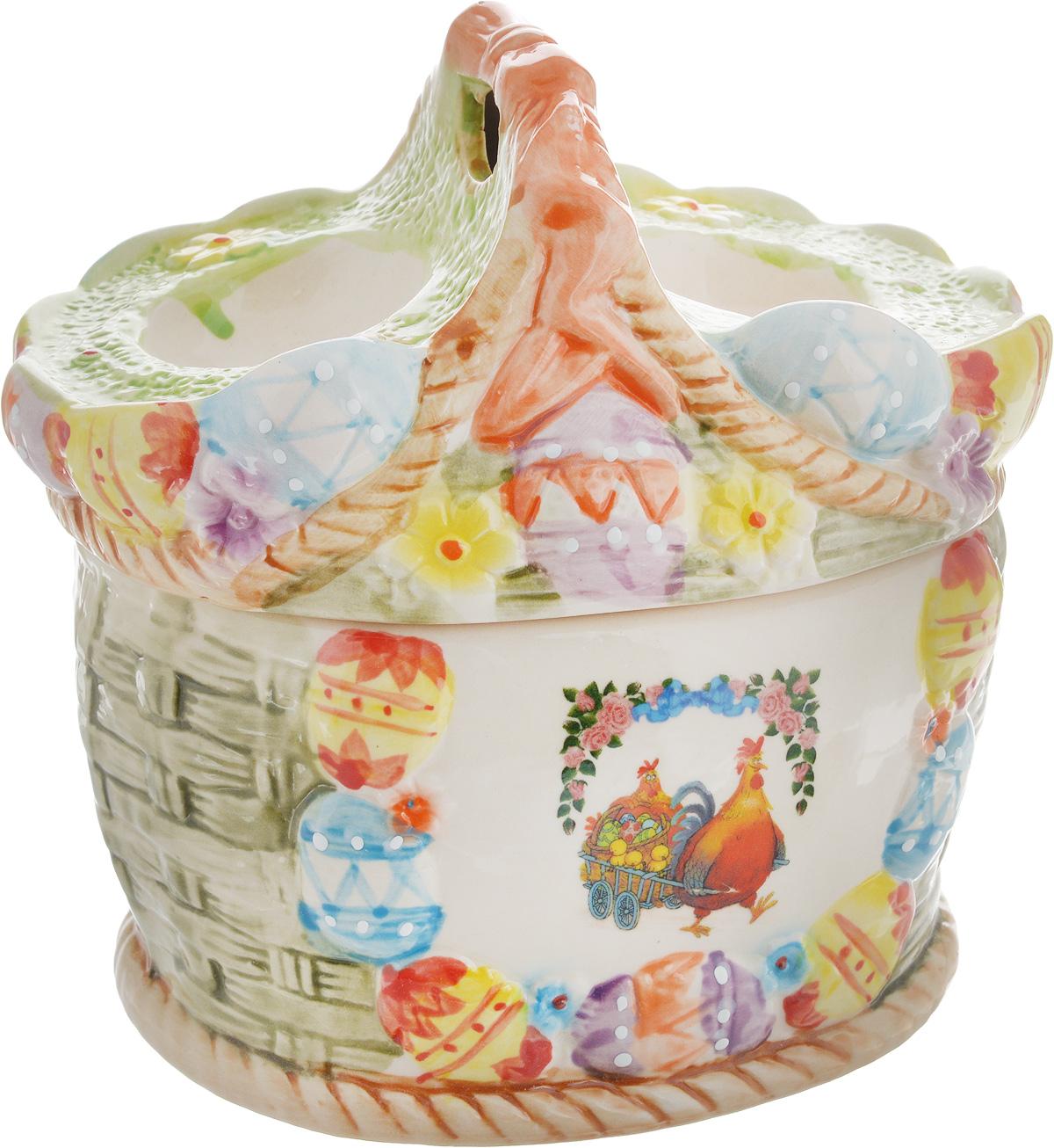 Ваза Win Max, для пасхальных яиц и угощений, 14 х 16 х 13 см94672Ваза Win Max изготовлена из высококачественной керамики с глазурованным покрытием и оформлена рельефным рисунком. Изделие дополнено крышкой, на которой расположены подставки для яиц. Крышка дополнена ручкой. Оригинальный дизайн украсит интерьер вашей кухни, а функциональность порадует любую хозяйку. Размеры емкости (без учета крышки): 15 х 12,5 х 9 смВысота крышки: 8,5 см