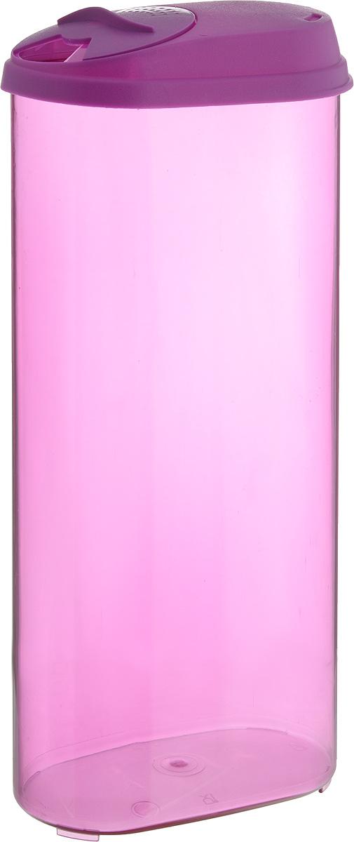 Банка для сыпучих продуктов Giaretti, с дозатором, цвет: фиолетовый, 2,4 лVT-1520(SR)Банка для сыпучих продуктов Giaretti выполнена из высококачественного пластика. Банка предназначена для хранения круп, сахара, макаронных изделий и в том числе для продуктов с ярким ароматом (специи и прочее). Плотно прилегающая крышка не пропускает запахи содержимого в шкаф для хранения, при этом продукт не теряет своего аромата. Двойной дозатор предназначен для мелких и крупных сыпучих продуктов.Можно мыть в посудомоечной машине. Объем: 2,4 л.Размер (по верхнему краю): 14,5 x 8,5 см.Высота (с учетом крышки): 30 см.