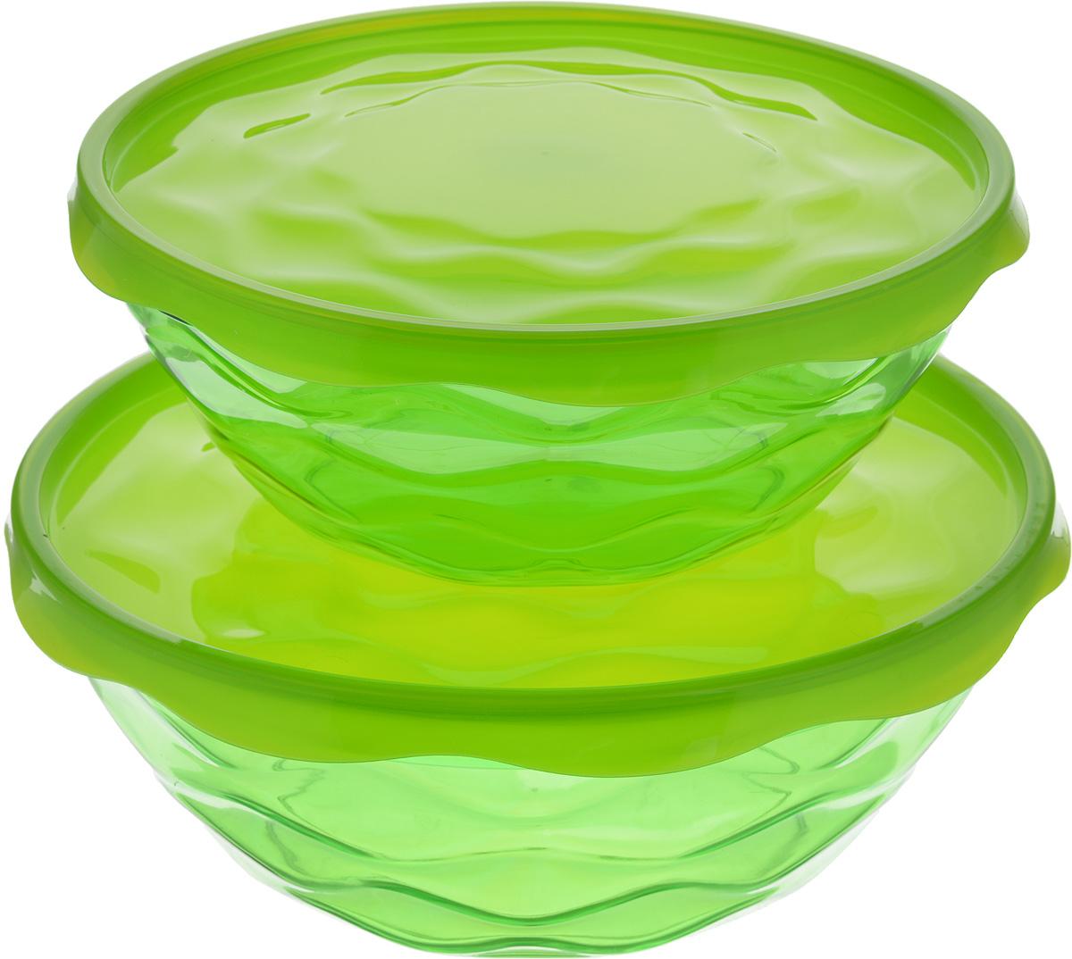 Набор салатников Giaretti Riva, с крышками, цвет: зеленый, 2 штGR1837_зеленыйНабор Giaretti Riva, состоящий из двух салатников разного объема с плотно закрывающимися крышками, сочетает в себе изысканный дизайн с максимальной функциональностью. Салатники выполнены из высококачественного пластика. Такой набор прекрасно подходит как для хранения продуктов в холодильнике, так и для сервировки стола.Можно мыть в посудомоечной машине.Объем салатников: 2,5 л; 4 л.Диаметр салатников (по верхнему краю): 23 см; 27 см.Высота стенок салатников: 8,5 см; 10 см.Диаметр крышек: 24,3 см; 28,3 см.