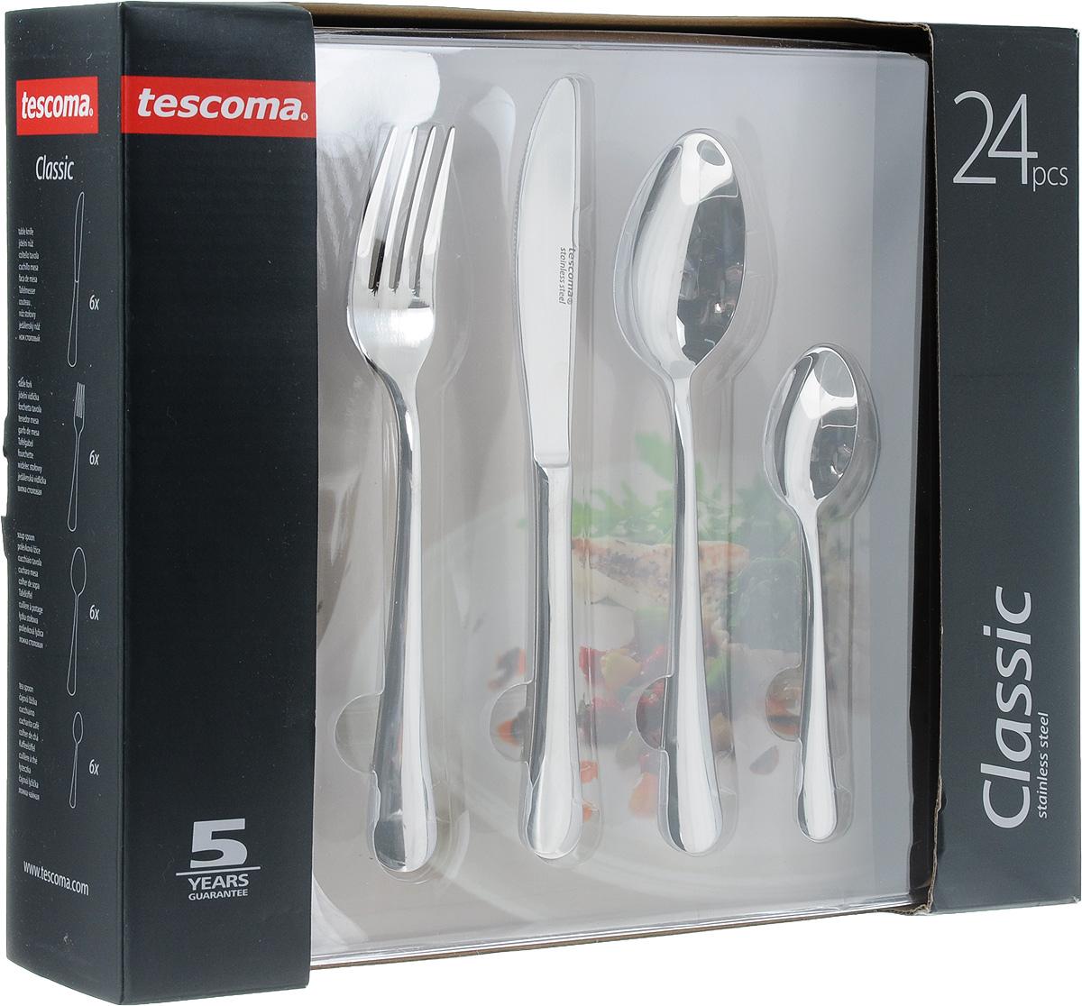 Набор столовых приборов Tescoma CLASSIC, 24 шт391406Столовые приборы Tescoma CLASSIC выполнены из нержавеющей стали. Полированная поверхность износостойка, гигиенична и легко поддается очистке. разрешено мыть в посудомоечной машине. В наборвходит: 6х нож 22 см, 6х вилка 20,5 см, 6х ложка 20,5 см, 6х чайная/кофейная ложка 14,5 см.