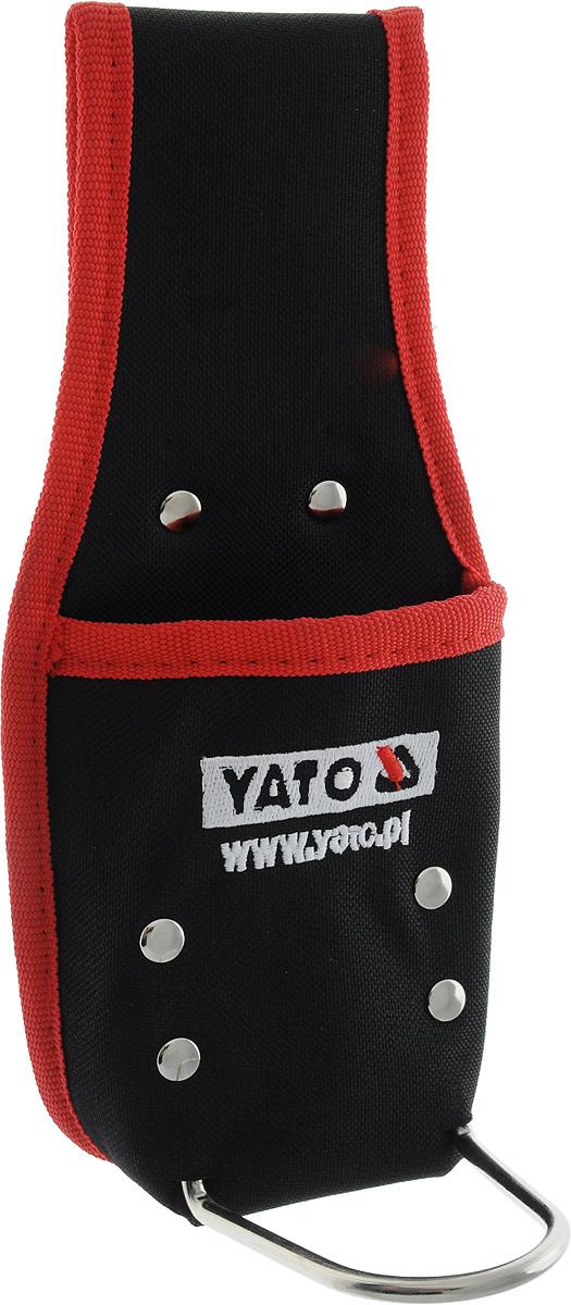 Карман для молотка Yato, цвет: черный, красный. YT-7419YT-7419Узкий карман для молотка Yato, изготовленный из нейлона, предназначен для переноски и размещения во время работы, молотка или отвертки, а также и мелких расходных материалов, таких как сверла. Карман особенно пригодится во время монтажных работ на высоте, например, при работе по монтажу кровли. Подходит для крепления на широком поясе. Швы дополнительно усилены металлическими заклепками.Размеры кармана: 23 х 10,5 х 11 см.